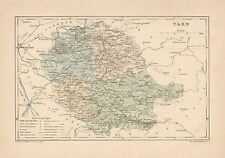 C9079 France - Tarn - Cartina geografica antica - 1892 antique map