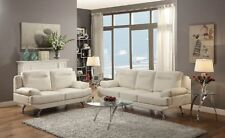 White Bonded Leather 2pc Sofa Set Modern Relax Sofa & Loveseat Living Room Couch