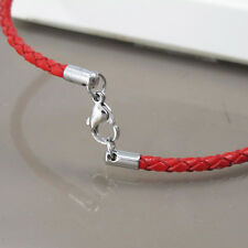 """Custom Made Silver Stainless 3mm Cord Red Leather Necklace 20"""" 21"""" inches 51cm"""