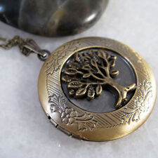 Tree Of Life Vintage Brass Photo Picture Locket Charm Pendant Chain Necklace