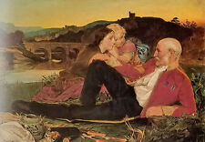 Oil painting Anthony Frederick Sandys - autumn happy family at sunset landscape