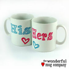 HIS AND HERS TWO MUG SET CUPS PRESENT GIFT WEDDING DAY ANNIVERSARY HUSBAND WIFE
