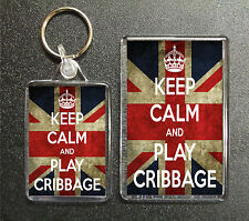 KEEP CALM AND PLAY CRIBBAGE UNION JACK KEYRING AND FRIDGE MAGNET GIFT SET
