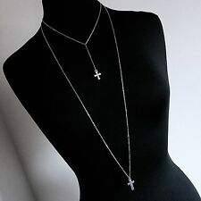 Long Y-Style Double Cross Two Strand Necklace--Stainless Steel Chain