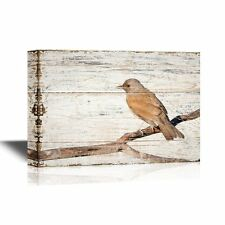 wall26 - Birds and Poultry Canvas Wall Art -Bird Standing on a Tree Branch-12x18