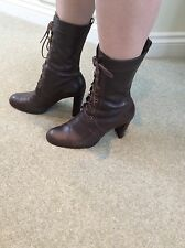 ladies size 6 faith ankle lace up leather boots with wooden block