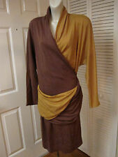 VINTAGE 80'S ALMA ITALY MUSTARD & BROWN WOOL JERSEY TOGA WRAP AROUND DRESS XL 48