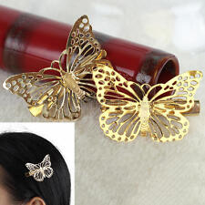 2 Pcs Women Girls Gold Tone Metal Butterfly Shape Barrette Hairpin Hair Clip