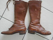 Vintage High Top Brown Leather Lace-up Boots Womens or Child AS IS