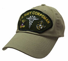 Corpsman Hat US Navy USMC Marine Corps 100% Cotton Khaki Ball Cap
