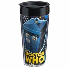 Doctor Who Tardis Dalek & Cyberman Art 16 oz Double Wall Plastic Travel Mug Cup