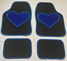 BLACK CAR MATS BLUE HEART HEEL PAD FOR PEUGEOT 106 107 108 206 206CC 207 208