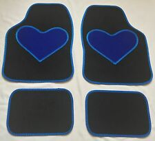 BLACK CAR MATS BLUE HEART HEEL PAD FOR TOYOTA AURIS AVENSIS AYGO COROLLA