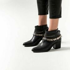 New FREDA SALVADOR Comet Black Metal Chained Leather Ankle Boots Sz. 6