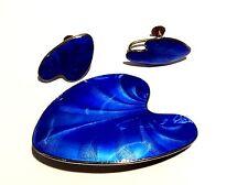 Vintage Norwegian Finn Jensen Sterling Enamel Blue Brooch-Earrings C 1960's