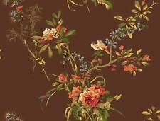 Wallpaper Designer Traditional Floral Vine Bouquet with Birds on Brown
