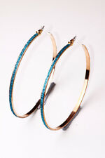 SPARKLING TURQUOISE MOONDUST / GOLD TONE BIG PARTY HOOP EARRINGS (CL21)