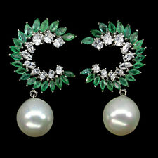 RARE NATURAL RICH GREEN BRAZIL EMERALD,SYNTHETIC PEARL,W CZ 925 SILVER EARRINGS
