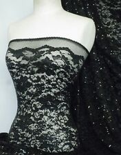 Black sequins flower stretch lace with lycra fabric Q1196 BK