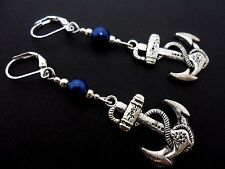 A PAIR OF  TIBETAN SILVER SHIPS ANCHOR  BLUE BEAD LEVERBACK HOOK  EARRINGS. NEW.