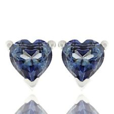 Stud Earrings Lab Created Iolite 925 Sterling Silver Platinum Finish 6mm Heart