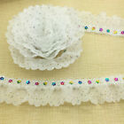 NEW 5 Yards 2-layer White Pleated Trim Gathered Ripple Mesh Lace Sequined Trim