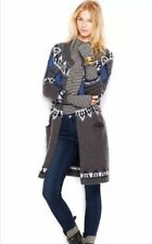 Free People Multicolor Frosted Fairisle Cardigan  Grey Combo Small Sweater Coat