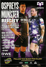 Ospreys v Munster Magners League 23 Apr 2011 Liberty Stadium RUGBY PROGRAMME