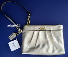 NWT Coach Gold Leather Pleated Wristlet 43431 Brass / Gold