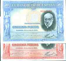 SPAIN LOT 2x 50 PESETAS 1935 BLUE AND RED VARIETY. VF CONDITION. 3RW 16 ABRIL