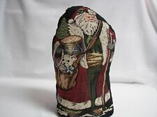 """Christmas Santa Claus Tapestry Door Stop 13"""" x 6.5"""" Soft Stuffed Weighted Sharp"""