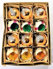 BOX 12 VINTAGE 6 CONCAVE MICA 6 GOLD GLOBE MERCURY GLASS CHRISTMAS TREE BAUBLES