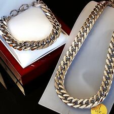 SET Heavy Stainless Steel Necklace Bracelet Men Chain Massive Chunky Silv c1
