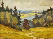 H. Vonderschmitt Ölgemälde Landschaft Leinwand sign.1969 Wald Hunsrück 22x16 cm