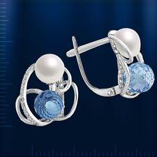 Russische  Weißgold  585 Ohrringe Perlen & Topasen. Neu  Glänzend.