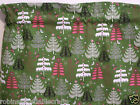 CHRISTMAS Window Curtain Valance* Trees On Olive Green *Snowflakes