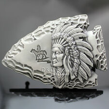Vintage Silver 3D Native Indian Chief Arrow Head Rodeo Zuni Navajo Belt Buckle