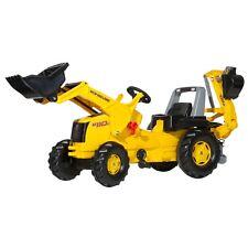Rolly Toys New Holland Heckbagger Bagger Trakor mit Frontlader Tretttraktor gel