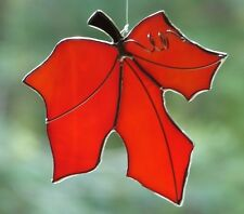 Stained Glass Orange Maple Leaf