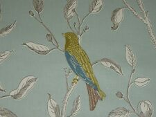 "SANDERSON CURTAIN FABRIC DESIGN ""Finches"" 2.6 METRES DUCK EGG 100% COTTON"