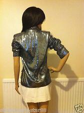 Debenhams Gun Metal/Metallic Sequined Blazer Jacket UK 12 New