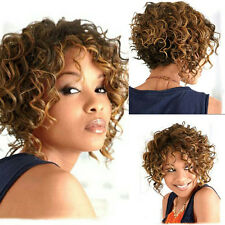 African American Short Curly Blonde Brown Highlights Synthetic Capless Hair Wigs