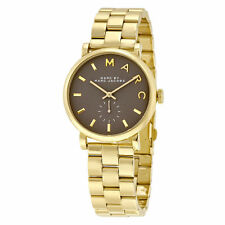NWT MARC BY MARC JACOBS BAKER BROWN DIAL GOLD TONE STAINLESS STEEL WATCH MBM3281