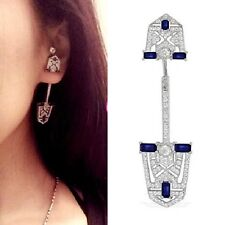 Stunning ART DECO Style Sapphire Blue Crystal Drop Ear Stud Cuff Dangle Earring