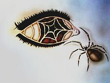 #an6 Airbrush Stencil EYE SPIDER WEB Template Textile Paint Craft