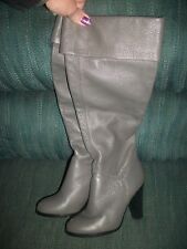 "Colin Stewart Gray Pebble Bump Leather Knee High Boots 3.5"" Heel SZ 5M  #8"