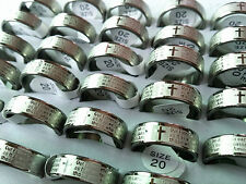 Wholesale 50PCs English Lord's Prayer Stainless Steel Etching Rings Large Sizes