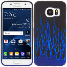 For Samsung Galaxy S7 TPU Design Protective Soft Case Blue Flame
