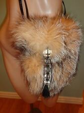 BACCARAT ****ABSOLUTELY UNIQUE****** Fox Fur/5 Crystal Tassel Shoulder Bag EUC