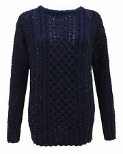 LADIES ARAN KNIT LONG SLEEVE KNITTED JUMPER SWEATER WOMENS PLUS SIZE TOP 8-30